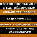 Подведение итогов послания Президента РФ с Е.А. Фёдоровым